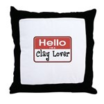 Clay Lover Nametag Throw Pillow
