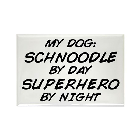 Schnoodle Superhero by Night Rectangle Magnet