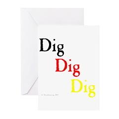Dig Dig Dig (D20) Greeting Cards (Pk of 10)