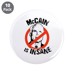 "McCain is insane 3.5"" Button (10 pack)"