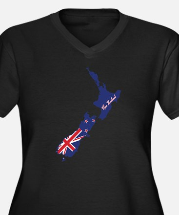 Cool New Zealand Women's Plus Size V-Neck Dark T-S