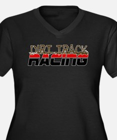 Dirt Track Racing Women's Plus Size V-Neck Dark T-