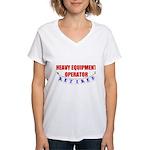 Retired Heavy Equipment Operator Women's V-Neck T-