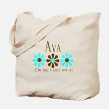 Ava - Blue/Brown Flowers Tote Bag