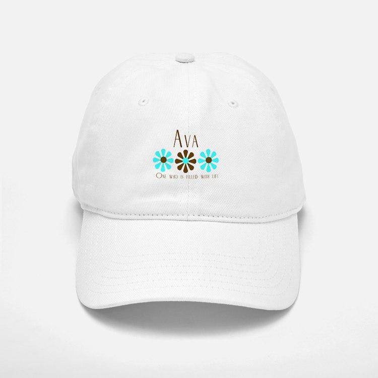 Ava - Blue/Brown Flowers Baseball Baseball Cap