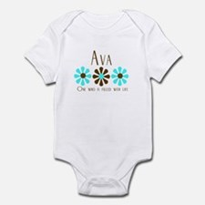 Ava - Blue/Brown Flowers Infant Bodysuit