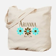 Arianna - Blue/Brown Flowers Tote Bag