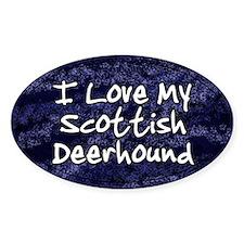 Funky Love Scottish Deerhound Oval Decal