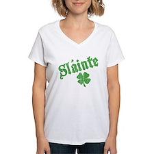 Slainte with Four Leaf Clover Shirt
