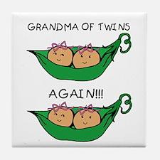 Grandma Twins Again Girls Tile Coaster