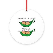 Grandma Twins Again Girls Ornament (Round)
