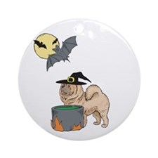 Chow Chow Witch Halloween Ornament (Round)