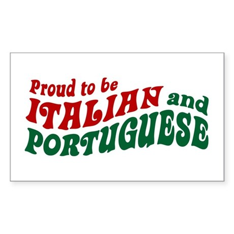 Proud Italian and Portuguese Rectangle Sticker