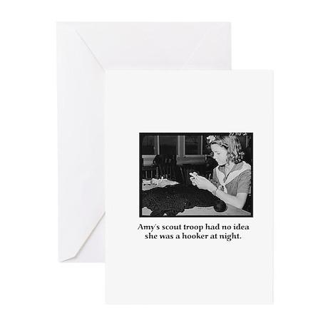 Crochet Hooker at Night Greeting Cards (Pk of 10)