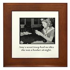 Crochet Hooker at Night Framed Tile
