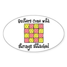 Quilters - Strings Attached Oval Decal