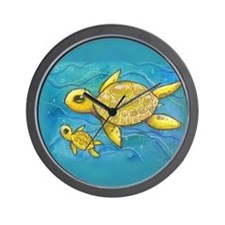 Sea turtle mama Wall Clock