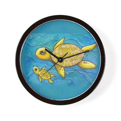 Sea turtle mama Wall Clock