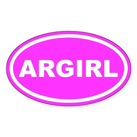 AR GIRL Arkansas Pink Euro Oval Sticker