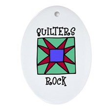 Quilters Rock Oval Ornament