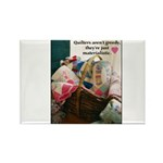 Quilters are Materialistic Rectangle Magnet (10 pa
