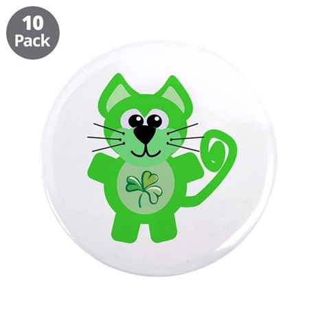 "Cute St. Patty's Day Shamrock Kitty Cat 3.5"" Butto"