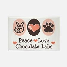 Peace Love Chocolate Lab Rectangle Magnet