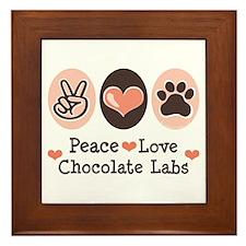 Peace Love Chocolate Lab Framed Tile