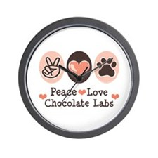 Peace Love Chocolate Lab Wall Clock