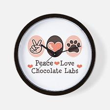 Peace Love Chocolate Lab Wall Clock