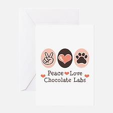 Peace Love Chocolate Lab Greeting Card
