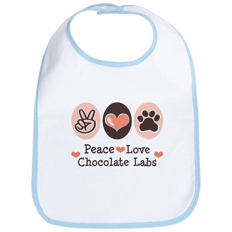 Peace Love Chocolate Lab Bib