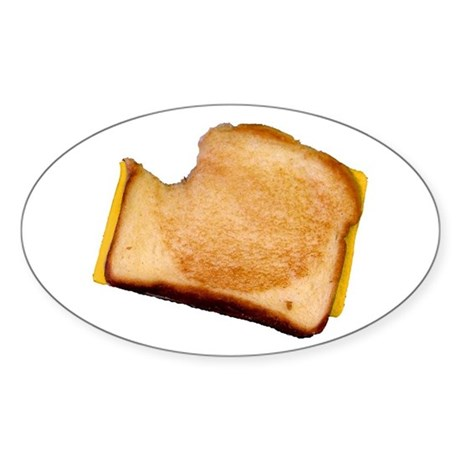 Plain Grilled Cheese Sandwich Oval Sticker