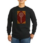Tennis Racket Long Sleeve Black T-Shirt (Brown)