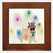 4th Of July Fireworks Pug Framed Tile