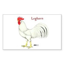 Leghorn White Rooster Rectangle Decal