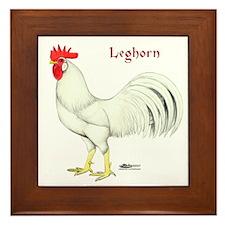 Leghorn White Rooster Framed Tile
