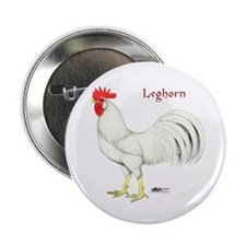 "Leghorn White Rooster 2.25"" Button"