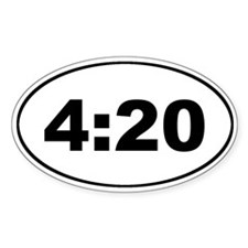 4:20 (420) Oval Sticker - What time is it?