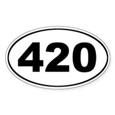 420 Oval Sticker (What time is it?)