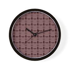 Wine Fleur-de lis 0n Mauve Wall Clock