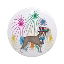 4th Of July Fireworks Boston Terrier Ornament (Rou