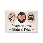 Peace Love Bichon Frise Rectangle Magnet (10 pack)