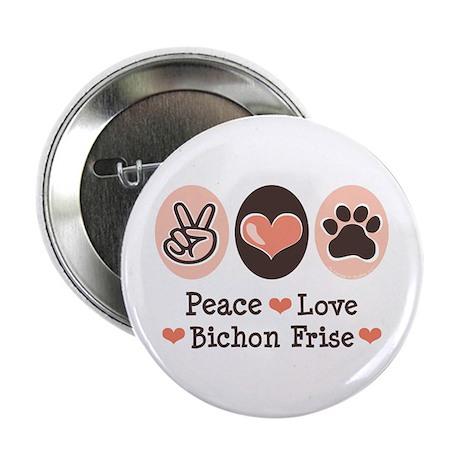 """Peace Love Bichon Frise 2.25"""" Button (10 pack)"""