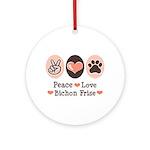 Peace Love Bichon Frise Ornament (Round)
