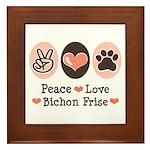 Peace Love Bichon Frise Framed Tile