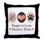 Peace Love Bichon Frise Throw Pillow