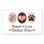 Peace Love Bichon Frise Rectangle Sticker