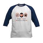 Peace Love Bichon Frise Kids Baseball Jersey
