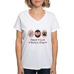 Peace Love Bichon Frise Women's V-Neck T-Shirt